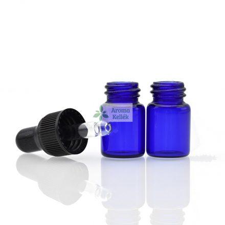 1 ml - es esszenciális olaj / illóolaj minta üveg - csepegtetővel (kék)