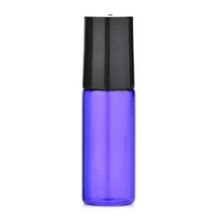 5 ml - es színes roller üveg esszenciális olaj / illóolajhoz - fekete kupakkal - lila