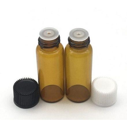 5 ml - es üveg esszenciális olaj / illóolajhoz - fehér kupakkal