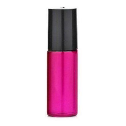 5 ml - es színes roller üveg esszenciális olaj / illóolajhoz - fekete kupakkal - rózsaszín