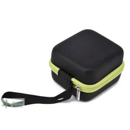 Rigid-walled essential oil case, holder - green
